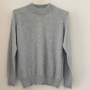 Half-Turtleneck Gray Cashmere Pullover Sweater M